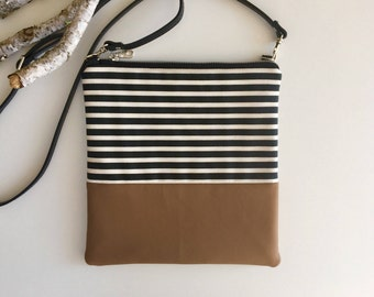 Stripes & Vegan Crossbody Purse // Handmade Purse // Striped Purse // Vegan Purse // Vegan Crossbody Bag // Shoulder Bag // Adjustable Strap
