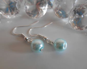 Wedding Pearl Earrings sky blue
