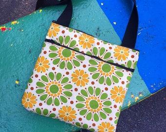 Green Yellow Vintage Floral Print Saddle Bag, Cross Body Shoulder Bag, Lightweight Cotton Messenger Bag