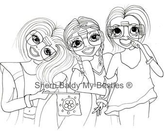 INSTANT DOWNLOAD  Digital Digi Stamps Big Eye Big Head Dolls img526 Court and Besties  Bestie Boys By Sherri Baldy