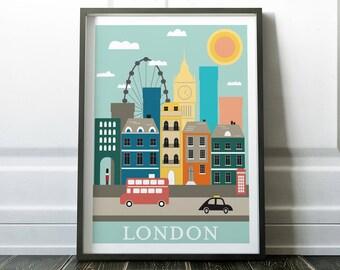 Wall Art Prints, London Poster, London Wall Art, Minimalist Travel Print, Modern Travel, London Print, Travel Wall Art, Minimalist Wall Art