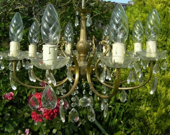 GORGEOUS**ANTQ/VINT French 8 Light Chandelier Drowning in Crystal