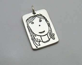 Handwriting Jewelry, Silver Rectangle Charm, Handmade Silver Pendant, Personalized Jewelry, Children's Artwork, Signature Jewelry