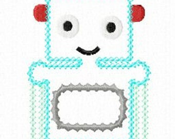 INSTANT DOWNLOAD Robot Machine Embroidery Applique Design