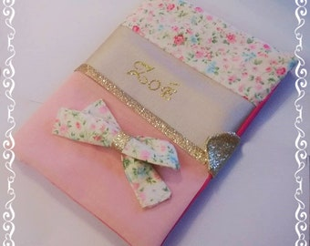 Protects health personalized notebook faux leather and cotton flower/rose/gold for girl