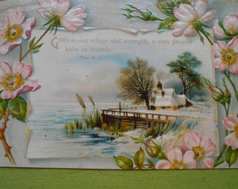 Vintage postcard Bible verse wooden box