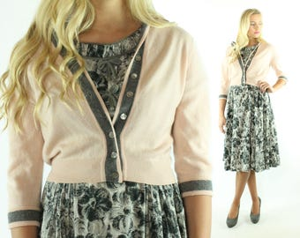 Vintage 50s Cashmere Cardigan Sweater Pink Gray Button Up Collared 1950s Medium M Pinup Rockabilly Bernhard Altmann