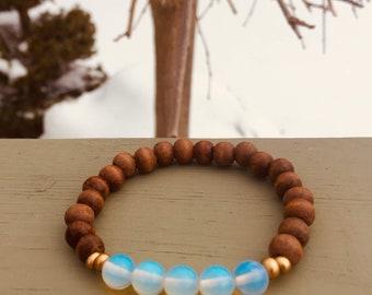 Wooden opal bracelet !