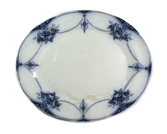 """Large 16"""" Antique Blue and White Meat Plate, Oval Transferware Platter, Floral Serving Plate, English Pottery Plate, English Country Kitchen"""