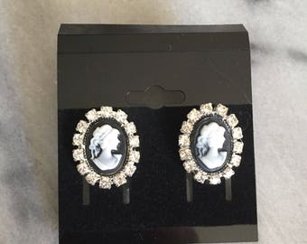 Mini Black Cameo earrings