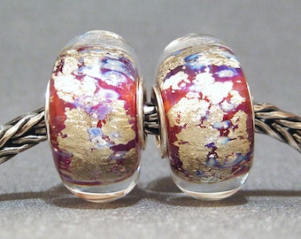 SMALL CORE Lavender, Magenta & Gold Handmade Lampwork Bead Big Hole Beads Ethereal Pair