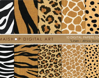 Digital Paper Linen 'Africa Skins' Printable Scrapbooking Papers Zebra, Tiger, Leopard, Giraffe and Cheetah for Scrapbook, Card Making...