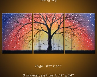 "Art Painting Triptych Original Large Abstract Modern Contemporary Trees Landscape ... 24"" x 54""... ""Starry Sky"" by Amy Giacomelli"