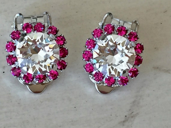 Clear and Fuchsia Crystal Halo Clip On Earrings, Silver