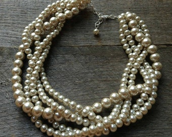 Champagne Chunky Pearl Necklace, Multi Strand Wedding Necklace, Pearl Statement Necklace on Silver or Gold Chain