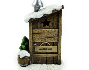Fairy Garden Winter Outhouse, Miniature LED Winter Outhouse, Fairy Christmas Decor for Miniature Gardens and Holiday Home Decor