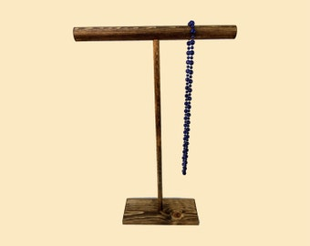24 inch Collapsible T-Bar Necklace Holder / Necklace Stand / Pendant Stand / Wooden Jewelry Display / Jewelry Holder / 10 color options