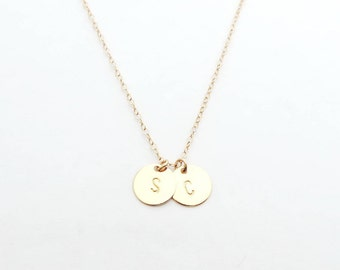 Two Gold Initials Necklace, Personalized Necklace, Two Initials Necklace, Bridesmaid Necklace, Dainty Necklace, Bridesmaid Gift