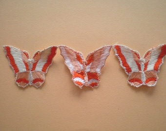 3 Vintage butterfly applications, embroidery applications-orange