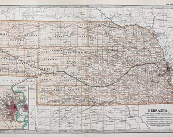 Antique Map : Nebraska, Omaha, USA, US State Map. Encyclopedia Britannica, 1890s (102)