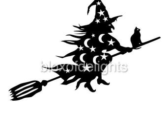 Halloween witch on broomstick svg for instant digital download