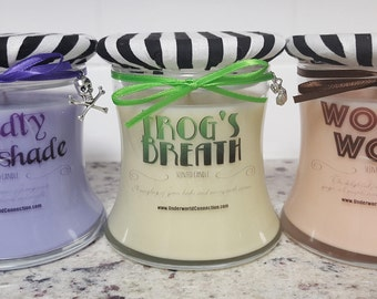 NIGHTMARE BEFORE CHRISTMAS-themed scented candles 3-pack, Deadly Nightshade, Frog's Breath, and Worm's Wort