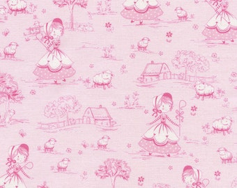 Little Bo Peep - 1 yard Cut - Timeless Treasures - Cotton Fabric - Quilting Fabric - Pink Fabric