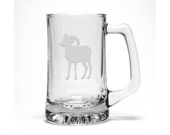 Bighorn Sheep Beer Mug / #1 / Free Personalization / Fantasy Beer Glass / Gift for Groomsman / Personalized Glass / Personalized Gift