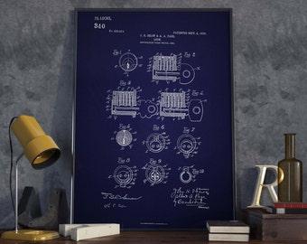 Key Lock Patent| Lock Patent| Locksmith| Locksmith Gift| Patent Prints| Patent Poster| Key Lock| Christmas Gift| Wall Art| Wall Art| HPH130