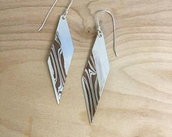 Long Geometric Mokume Gane Dangle Earrings