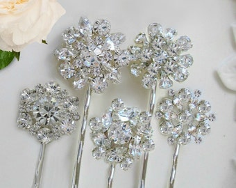 Rhinestone Hair pins, Crystal Bobby pin, Bridal Hair, Bridesmaid hair pin, Silver Hair Clips ,6 Wedding Hair pins, U-Pins, vintage style