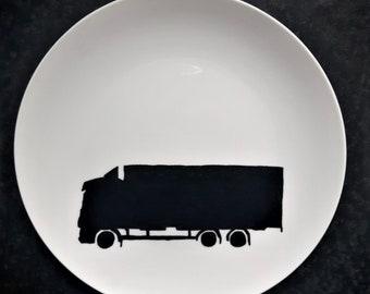 Truck, truck, manpresent, boys, man, gift, present, gift, present, plate, Dish, BNW, blackandwhite, black-white, plate, plate, tableware