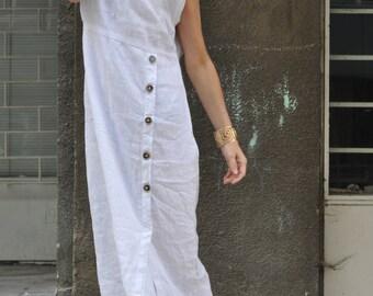 Women Long Dress, Plus Size White Dress, White Linen Dress, Extravagant Long Dress, Linen Dress, Summer White Dress for Women - DR0319LE