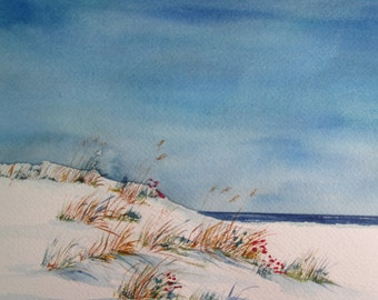 beach flowers ~ hand painted original watercolor seascape