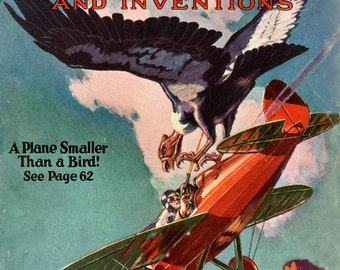 A plane smaller than a bird! cover from Modern Mechanics and Inventions January 1929 Vintage science magazine reproduction print