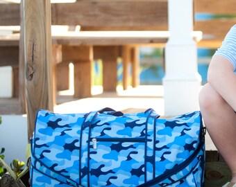 Cool Camo Duffel-Monogrammed Camo Duffel Bag-Monogrammed Luggage-Blue Camo Duffel Bag-Kid's Duffel-Boy's Duffel-Blue Camo-Cool Camo