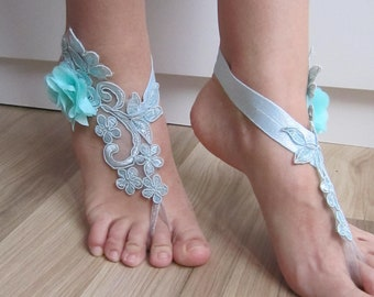 Blue lace flower barefoot sandals, bridesmaid gift, beach wedding barefoot sandals, bridal anklet