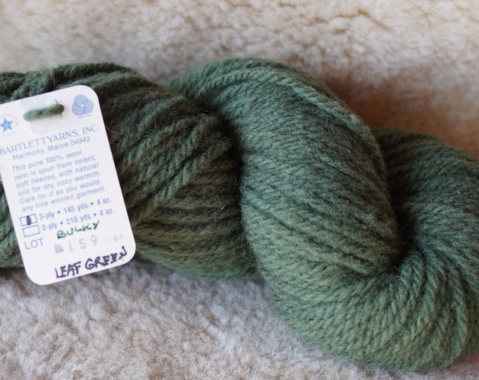 bulky weight yarn: Leaf Green 3 ply bulky chunky wool Bartlettyarn sale