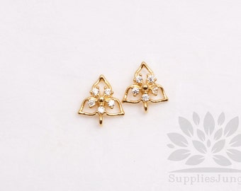 E251-G// Gold Plated Cubic Triangle Flower Post Earring, 2pcs