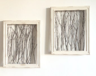 Rustic Framed Branches (1 Medium Frame) - Rustic Wall Decor, Rustic Home Decor, Rustic Frame, Birch Branch Decor