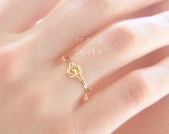 Dainty Gold Infinity Double Knot Band Ring