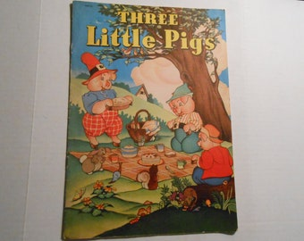 vintage Whitman linen children's book Three Little Pigs