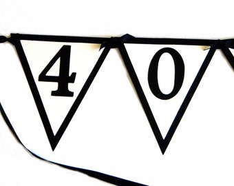40th Birthday Banner - 40 ROCKS, Black, White or Your choice of colors, Pennants