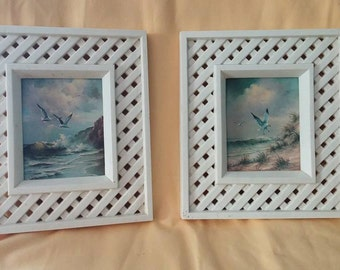 Pair of Retro Beach Scenes