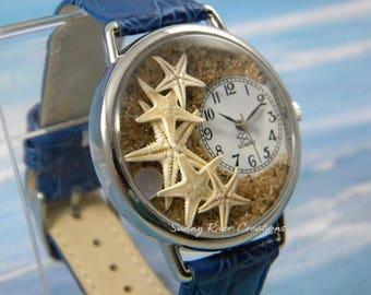 Starfish Watch with Abalone Chip on Sand