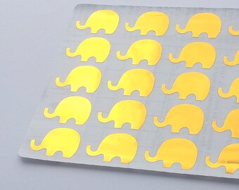 40 Metallic Gold Elephant Stickers, Elephant Planner Stickers, Elephant Envelope Seal, Party Stickers, Wedding Stickers, Birthday Stickers