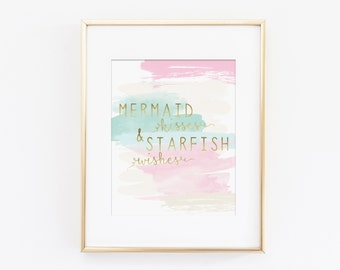 Mermaid Kisses and Starfish Wishes, Pink Nursery Decor, Mermaid Nursery Theme, Pink and Mint Nursery, Girls Nursery Art Print, Wall Quote