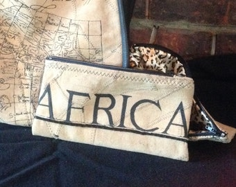 Africa suede small zippered bag cosmetic bag pencil case