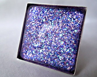 Bright Purple Square Glass Ring; Handmade Glitter Nail Polish Jewelry; Hand Painted Glass Square Ring; Silver Square Ring; Adjustable Ring