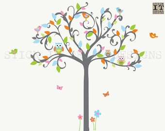Owl tree wall decal, owl nursery decor, gender neutral, nursery owl wall decor, Tree Wall Sticker, Wall Decal, Perfectly Colorful Design